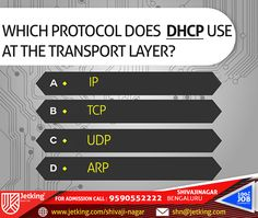 Which Protocol does DHCP use at Transport Layer ? #iamjetking #iamjetkingshivajinagar #quiz_update #joinjetking