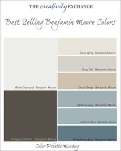 Best Selling Benjamin Moore Colors. ( Images of  spaces painted in some of these colors).The Creativity Exchange #colorpalette #paintcolor
