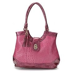 "723-229 - Madi Claire ""Cassidy"" Croco Embossed Leather Tassel Detailed Zip Top Tote Bag"