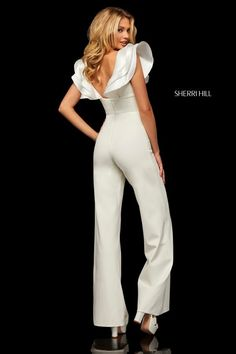 Buy dress style № 52934 designed by SherriHill All White Party Outfits, Classy Outfits, White Jumpsuit Formal, Trendy Dresses, Casual Dresses, Prom Jumpsuit, Wedding Pants, Evening Dresses, Prom Dresses