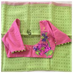 Best 12 Gorgeous parrot green color designer saree and blush pink color designer blouse lotus flower design hand embroidery thread work on back of blouse. 20 February 2019 Gorgeous parrot green color designer saree and blush pink color desi Blouse Designs High Neck, Kids Blouse Designs, Simple Blouse Designs, Stylish Blouse Design, Designer Blouse Patterns, Fancy Blouse Designs, Skirt Patterns, Coat Patterns, Sewing Patterns