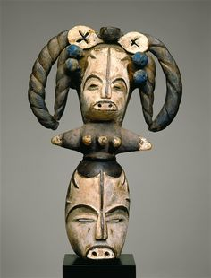 Africa | Mask with Janus Headdress.  Wood and pigment.  20th century