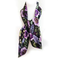 Modern Floral Watercolor Scarf on Black - All season velour - VelourScarf Size: 55Lx 4.25W