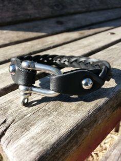 Men's leather bracelet black thin leather bracelet by VavienStore