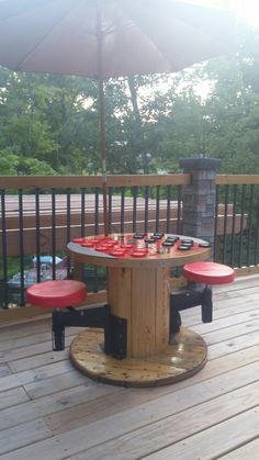 Diy Outdoor checker table from electric spool
