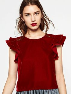 Zara red velvet blouse!