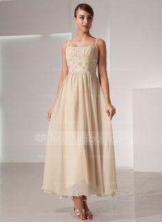 A-Linie/Princess-Linie U-Ausschnitt Knöchellang Chiffon Festliche Kleid mit Rüschen Perlen verziert (020014439)