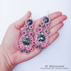 Soutache Pink and Silver Earrings with Swarovski Silver Night Crystals and Sterling Silver Beads