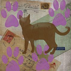 Cat Travels Too - digital art by Grimalkin Studio / Kandy Hurley  #Catlovers #Kittyart #FunArt @grimalkinart