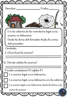 Textos cortos. Lecturas comprensivas - Imagenes Educativas Spanish, Comics, Words, Blue Prints, Creative Writing, Reading Comprehension, Spanish Language, Cartoons, Spain