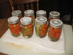 Fireballs (hot pickled cherry tomatoes) Jelly Recipes, My Recipes, Favorite Recipes, Tomato Jelly, Pickled Cherries, Hot Pepper Jelly, Canning Food Preservation, Canning Tomatoes, Jam And Jelly