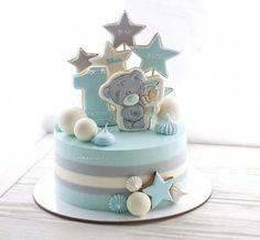 Best birthday cupcakes boy first Ideas Birthday Cake Cookies, Baby Boy Birthday Cake, Birthday Cakes For Men, First Birthday Cakes, Birthday Boys, Teddy Bear Cakes, Bolo Cake, Baby Shower Cakes For Boys, Birthday Cake Decorating