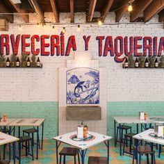 Tacombi Opens Fifth Taco Spot On Bleecker Street In The West Village: Gothamist Mexican Restaurant Design, Mexican Bar, Taco Restaurant, Mexican Restaurants, Bar Mexicano, Taco Spot, Taco Stand, Restaurant Concept, Dark Interiors