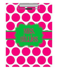 Love this Pink & Green Polka Dot Personalized Clipboard by Swirl Designs on #zulily! #zulilyfinds