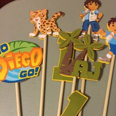 Go Diego Go! These cute centerpiece are custom made for your little one's party.