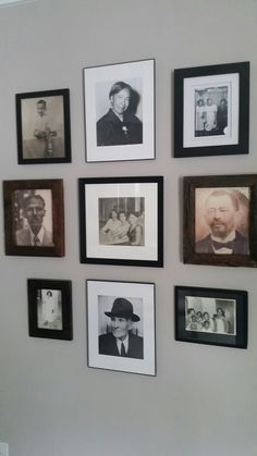 Photo wall vignette of family