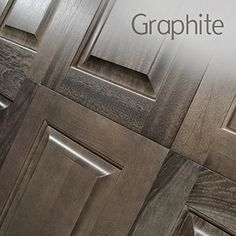 We're spotlighting Graphite, a rich, warm grey-brown that fills the space between a true grey stain (like Sea Drift) and brown tones such as Sable or Caraway. Cabinet Stain Colors, Kitchen Cabinet Colors, Kitchen Redo, New Kitchen, Kitchen Ideas, Kitchen Black, Gray Stained Cabinets, Grey Cabinets, Shaker Kitchen Cabinets