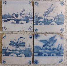Vier Hollandse tegels met dieren, Nederland, eind 17e eeuw