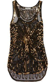 Sequin-embellished mesh top