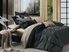 Sweet Dreams Black/Khaki Embroidered Duvet Cover Set l Seasons Collection