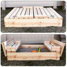 DIY Sandbox with Fold-Out Seats | A great woodworking project and now you can keep the sandbox clean and the toys organized!