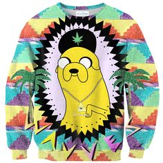 All Over Print Adventure Waves Sweatshirt Adventure Time Collab - RageOn! - The World's Largest All-Over-Print Online Store Adventure Time Cosplay, Printed Sweatshirts, Hoodies, Jake The Dogs, Sweater Making, 3 D, Cool Outfits, Graphic Sweatshirt, Sweaters