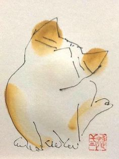 cat illustration - Shozo Ozaki interesting combinations of lines and blobs of colours