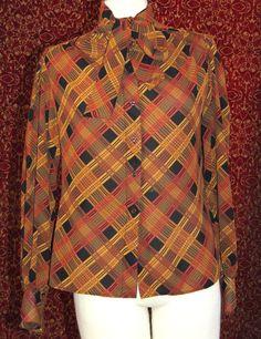REGINA PORTER Vintage brown plaid polyester long sleeve blouse 6 (T11-02A7G) #ReginaPorter #Blouse #Career