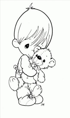 Me and my Bear - Precious Moments coloring pages.