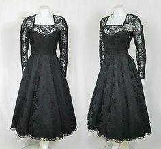 Vintage 1950s Black Illusion Lace Sweetheart Party Dress w Full Fishtail Skirt | eBay