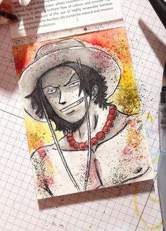 Ace, One Piece, Ep. 095 8,0 x 10,5 cm, Watercolor #Ace #OnePiece