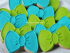 Fancy bow tie cookies 1 dozen by TheFancyLadyGourmet on Etsy Bow Tie Cookies, Royal Icing Cookies, Sugar Cookies, Baby Shower Gender Reveal, Baby Boy Shower, Baby Showers, First Birthday Parties, First Birthdays, Bow Tie Party