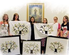 Embroidered Family Trees - YW wanted to become more involved with family history, they decided to create an embroidered family-tree project. It ended up bringing their family history to life and taught them new skills along the way. - supplies - material (various colors - trunk, leaves and background), thread for embroidery, list of 5 generations of your family. LOVE THIS!!