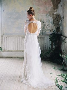 Prairie Rose - Open backed wedding dress from Claire Pettibone // Photography ~ Sarah Kate