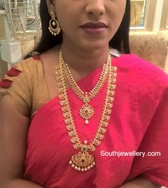 Uncut Diamond Necklace and Mango Mala - Indian Jewellery Designs Jewelry Design Earrings, Gold Earrings Designs, Necklace Designs, Jewellery Designs, Gold Jewellery, Bridal Jewellery, Marriage Jewellery, Gold Bangles, Mango Mala
