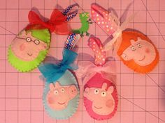Peppa Pig inspired Gift Card holder or Hair Clip Holder for Kid & Easter Basket Tag or Felt Egg Ornaments - Handmade toys