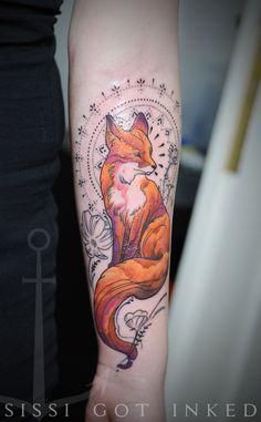 Beautiful Fox Forearm Tattoo