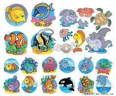 Cartoon sea animal vector