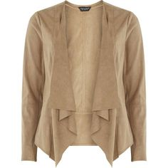 Dorothy Perkins Tan Suedette Waterfall Jacket ($69) ❤ liked on Polyvore featuring outerwear, jackets, brown, tan jacket, waterfall jacket, drape jacket, dorothy perkins and brown jacket