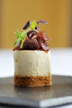 Goat's cheesecake with red onion jam These brilliant goats cheesecake recipe from award winning British chef, Simon Hulstone, are tasty and look amazing - truly, the ultimate canapé recipe Savory Cheesecake, Cheesecake Recipes, Goat Cheese Cheesecake Recipe, Canapes Recipes, Appetizer Recipes, Appetizers, Canapes Ideas, Simon Hulstone, Chef Simon