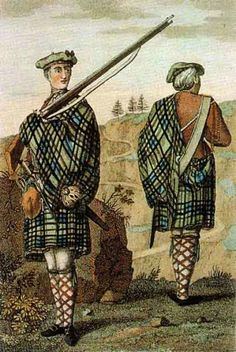 A private and corporal of a Highland Regiment, circa 1744. The private is wearing a belted plaid in the Government tartan. Note how the plaid is being used to protect the musket lock from rain and wind. (Source: This image is scanned from Clans and Tartans — Collins Pocket Reference George Way of Plean and Romilly Squire, Harper Collins, Glasgow 1995 ISBN 0-00-470810-5).