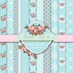 Shabby chic digital paper : Shabby Chic Roses * Please read this listing info* These are DIGITAL files, not printed paper sheets! When you