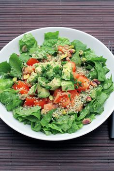 Ingredients for 1:  1 Avocado  2 Tomatoes   Romain Lettuce 100 gr  3 table spoon of toasted and shelled Pistachios  Chives  3 Table spoon of Shelled Hemp seeds    Dressing:  Extra virgin olive oil  Balsamic vinegar  Salt and pepper