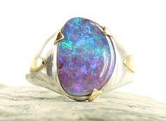 Bague Opale Argent et Or. Taille 54. Pierre naturelle. Bague pierre gemme. Opale d' Australie. Bague Boulder Opale. Bijoux Opale. de la boutique apsarasV sur Etsy