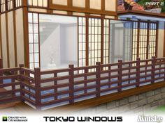 The Sims Resource: Tokyo Windows, doors and more by Mutske Asian Doors, Asian Windows, Windows And Doors, Japanese Door, Japanese Bathroom, Japanese Style, The Sims, Sims Cc, Sims 4 Windows