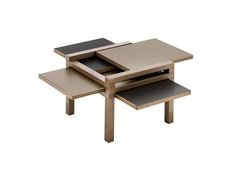The Hexa table looks like a child's puzzle but performs like a pro. Crafted of solid wood with six reversible laminate surfaces that can be seamlessly moved and reconfigured for a variety of functions.