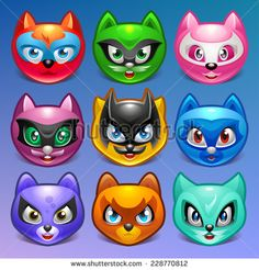 Cartoon characters. Cats in superhero role on background. Vector illustration eps 10. -