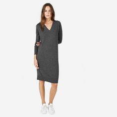 The Cashmere V-Neck Midi Dress - Everlane