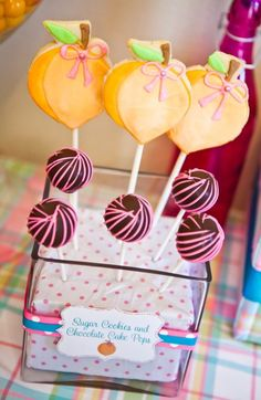 peach party decorations: peach cookies cake pops
