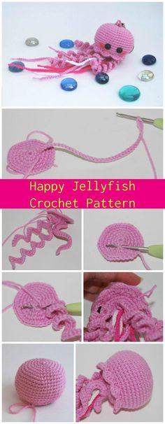 DIY Happy Jellyfish Amigurumi Crochet Pattern, free and easy crochet jellyfish patterns